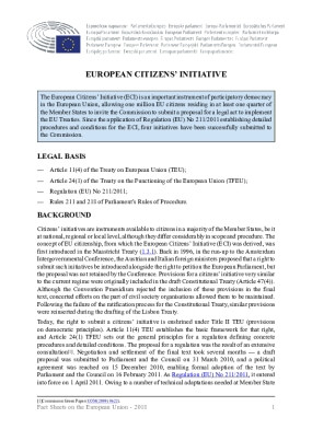 European Citizens' Initiative - EU Fact Sheets